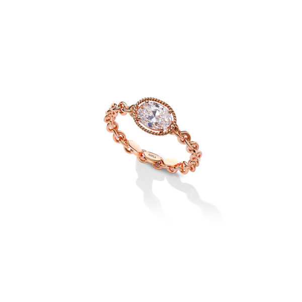 SGR203- Salasil Gafla Oval Ring Rose Gold- 7,360 Aed