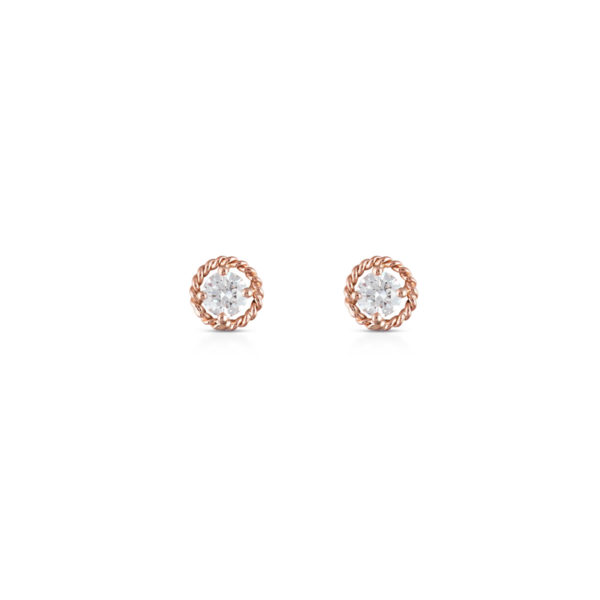 Salasil Gafla Earrings, Round, Rose Gold, Mini – 3