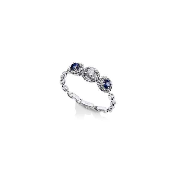 SGW210 – Salasil Gafla Ring, White Gold, Trio, Sapphire and Diamond