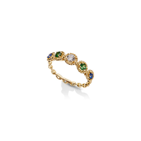 SGY212 – Salasil Gafla Ring, Yellow Gold, Quintet, Tsavorite and Light Blue Sapphire